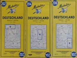 Carte Routière Michelin Deutschland (Allemagne) - Lot De 3 Cartes N° 202, 204, 206 Au 1/20.000e - Cartes Routières