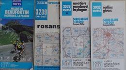 Carte Topographique Et Randonnée IGN Série Bleue, Rhône-Alpes - Lot De 4 Cartes N° 3032, 3239, 3532, 3533 Au 1/25.000e - Cartes Topographiques