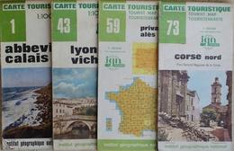 Carte Routière Touristique IGN - Lot De 4 Cartes N° 1, 43, 59, 73 Au 1/100.000e - Cartes Routières
