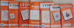 Plan Guide Blay, Répertoire Des Rues - Lot De 7 Plans: Montpellier, Lyon, Roanne, Avignon, St Etienne, Grenoble - Cartes