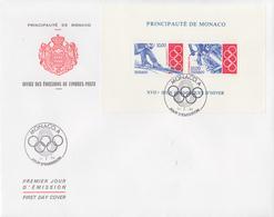 Enveloppe  FDC  1er  Jour   Grand  Format   MONACO   Bloc   Feuillet    Jeux  Olympiques  LILLEHAMMER   1994 - FDC