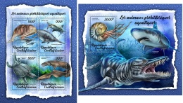 Central Africa 2018 Prehistoric Water Animals MS+S/S CA18009 - Stamps