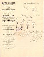 06 NICE COURRIER 1895  Quincaillerie  Grand Dépôt D' Allumettes MAISON GIAUFFER   *  Z70 - France