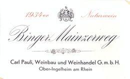 1 Etiquette Ancienne De VIN ALLEMAND - BINGER MAINZERWEG 1934 - OBER-INGELHEIM AM RHEIN - Riesling