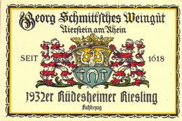 1 Etiquette Ancienne De VIN ALLEMAND - RUDESHEIMER RIESLING 1932 - Riesling
