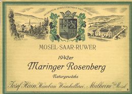 1 Etiquette Ancienne De VIN ALLEMAND - MOSEL SAAR RUWER WINE 1942 - MARINGER ROSENBERG - Riesling
