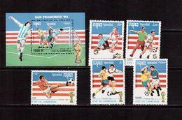 Cambodia-1992,(Mi.1279-1283,Bl.189), Football, Soccer, Fussball,calcio,MNH - World Cup