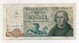 """Italia - Banconota Da Lire 5.000 """" Cristoforo Colombo """" 3 Caravelle - Decreto 20.05.1971 - (FDC8372) - [ 2] 1946-… : Républic"""