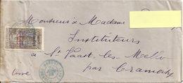 1928 - ENVELOPPE TIMBREE  POUR LA FRANCE AVEC SURCHARGE AFRIQUE EQUATORIALE FRANCAISE - OUBANGUI CHARI ET TAMPON BANGUI - A.E.F. (1936-1958)