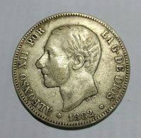 SPAGNA / SPAIN - 2 Pesetas (1882) ALFONSO XII - AG / SILVER - Primi Conii