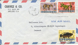 Belize Air Mail Cover Sent To Denmark 31-10-1973 Topic Stamps (the 1 Cent Stamp Is Damaged) - Belize (1973-...)