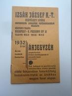 OK22.13  Hungary   IZSÁK J. Chemical Factory -Price List -1932 Árjegyzék - Advertising
