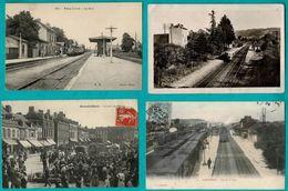 49 CP Avec Trains PALAY_LA GRIVE_COMPIEGNE_Sans Trains FEYSIN_ MOUY+ 1CP Vues Déroulantes_ Vendanges_ Marché...N °028 - Postcards