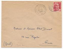 """Enveloppe Affr 6F Gandon - Cachet """"Hauteville-Lompnes G.A - Ain"""" 1948 - Marcophilie (Lettres)"""
