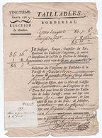 """1767 - DOCUMENT ELECTION DE MOULINS (ALLIER) DES TAILLABLES """"...PAROISSE DE COULANDON ..."""" - Documents Historiques"""