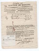 """1783 - DOCUMENT ELECTION DE MOULINS (ALLIER) DES TAILLABLES """"...HABITANTS DE COULANDON ..."""" - Documents Historiques"""