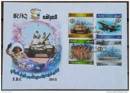 Iraq NEW 2015 Issue - Dated 2014 - Army Day Complete Set On FDC - Warplane Warcraft Tank Soldiers - FDC - Iraq