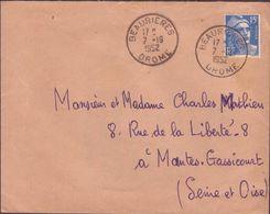 ENVELOPPE TIMBRE 1952 BEAURIERES (DROME) - 1921-1960: Période Moderne
