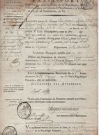 """AN 6 - PASSEPORT POUR INTERIEUR DE LA REPUBLIQUE """"CITOYEN NATIF De NOISSEVILLE (MOSELLE)... ALLANT A COGNAC (CHARENTE)"""" - Historical Documents"""