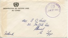 ONUC, Congo, United Nations, Service Cover 1962 To Ireland From Irish Contingent, Gaines Cancel 200(a) - New-York - Siège De L'ONU