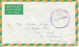 ONUC, Congo, United Nations, Airmail Service Cover 1961 To Ireland From Irish Contingent, Gaines Cancel 200(a) - New-York - Siège De L'ONU