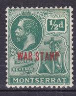 Montserrat 1917 Mi. 52   ½ P. King George V. Aufdruck Overprinted WAR STAMP (Red) MNH** - Montserrat