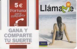 TARJETA DE ESPAÑA DE PREPAGO DE TELEFONICA CHICA EN LA PLAYA CON PUBLICIDAD DE TABACO FORTUNA (RARA) - Espagne