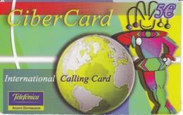 TARJETA DE ESPAÑA DE PREPAGO DE TELEFONICA DE CIBER CARD  (ARLEQUIN) - Espagne