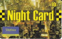 TARJETA DE ESPAÑA DE PREPAGO DE TELEFONICA DE NIGHT CARD DE 10 EUROS - Espagne