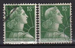 Variété Du 18f Muller Vert N° 1011A Oblitérè, Couleur Vert Claire Et Foncé - Errors & Oddities