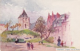 Cpa Illustrée Leteurtre Le Treport L Eglise Vue Du Square - Illustrateurs & Photographes