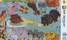 Télécarte * ISRAEL  (2345) TORTUE * TURTLE  * ELEPHANT * GIRAFFE * LION *  Phonecard - SCHILDKRÖTE * TELEFONKARTE - Turtles