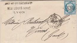 Yvert 60B Type II  Lettre Entête Simean Louis Dorure LYON Les Terreaux GC 6316 Du 27/1/1874 Pour Nimes Gard - 1849-1876: Periodo Clásico