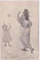 Cpa Illustrée 1901 Signée ? Delevis Jeune Mere Et Sa Fille Jouant Au Ballon Elegante - Illustrateurs & Photographes