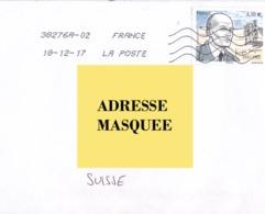Lettre De France Pour La Suisse Voyagé Le 18. 12. 2017.Timbre Personnage Célèbre - Postmark Collection (Covers)
