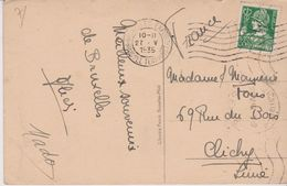 BELGIQUE . MERCURE 35 C. Vert  (s/ Cpa Bruxelles . Tombeau D'un Soldat Inconnu) - 1932 Cérès Et Mercure