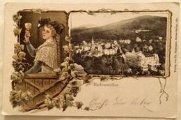 """Deutsches Reich 1904: Prägekarte """"Badenweiler"""" Trachtenmädel Mit Weinpokal & Stadt-Ansicht Mit O BADENWEILER 28.8.04 - Vins & Alcools"""