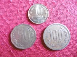 (E123)-CHILI-LOT DE 3 PIECES-1/5/ ET 100 PESOS(annees Voir Photos - Chili
