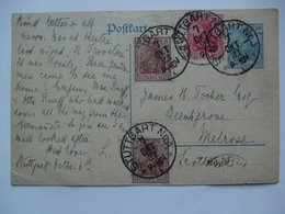 GERMANY - 1921 Postcard Stuttgart To Melrose Scotland 80pf Rate - Allemagne