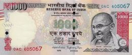 INDIA 1000 RUPEES 2016 P-107 UNC SIGN. RAJAN. PLATE LETTER R [IN297b] - India