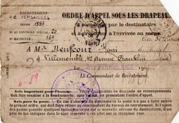 VP11.876 - Militaria - 1908 - VERSAILLES Ordre D'Appel Sous Les Drapeaux Mr H. NEUFCOUR à VILLEMOMBLE - Casques & Coiffures