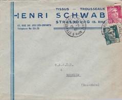 Strasbourg Lettre à Entête 1947 Henri Schwab Tissus - Postmark Collection (Covers)