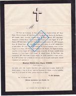 FAIRE PART DÉCÈS FÉLICIEN PISON. 1881, AIX EN PROVENCE. Madon, Tavernier, Chinon, Roux, Boyer, Estrivier. - Décès