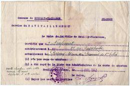 VP11.878 - Militaria - Guerre 39 / 45 - Commune De NEUILLY - PLAISANCE Service Du Ravitaillement - Casques & Coiffures