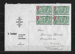 HEIMAT AARGAU → Off. Umschlag Des V.Turnfest In Aarau Anno 1945  ►SBK-B26 Im Viererblock◄ - Switzerland