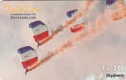 SWITZERLAND - Skydivers, Teleline Prepaid Card Fr.10, Used - Suisse