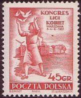 1951, Poland, Mi 684, Woman, III Congress Of Women's League. Pigeon. MHN** - 1944-.... Republic