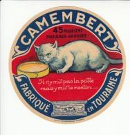 Etiquette De Fromage Camembert Fabriqué En Touraine - Chat. - Fromage