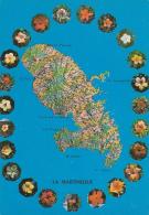 Contour Martinique Montage Photo - Carte Relief Institut Géographique National, & Couronne De Fleurs D'hibiscus - Cartes Géographiques