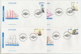 DENMARK 1993 Sailing Ships On 4 FDCs.  Michel 1057-60 - FDC